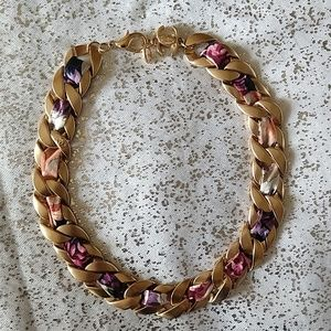 CHANEL Curb Chain Floral Necklace - Authentic
